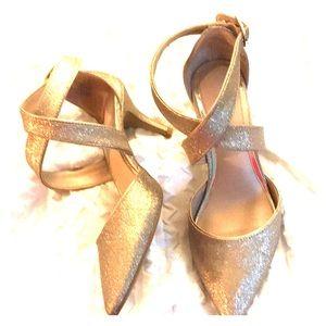 Gold tone, Kelly & Katie wrap heels. Size 9 1/2